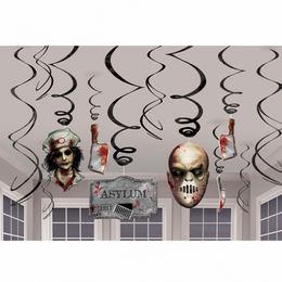 Asylum Véres Spirál Függő Dekoráció Halloweenre, 12 db-os