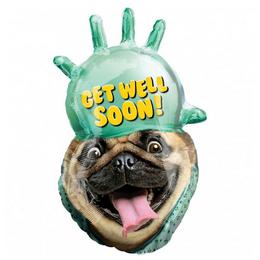 Avanti Get Well Soon Pug Super Shape Fólia Lufi