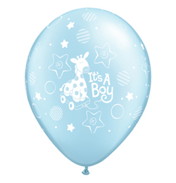 11 inch-es It is A Boy Soft Giraffe Pearl Light Blue Lufi (25 db/csomag)