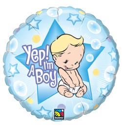 18 inch-es Fiú vagyok - Yep! I am A Boy Baby Fólia Lufi Babaszületésre