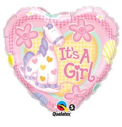 9 inch-es It is A Girl Soft Pony Baby Fólia Lufi Babaszületésre (5 db/csomag)