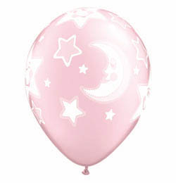 11 inch-es Baby Moon and Stars Pearl Pink Lufi Babaszületésre (25 db/csomag)