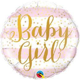 18 inch-es Baby Girl Pink Stripes Fólia Lufi Babaszületésre