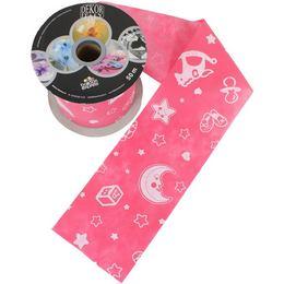 Baby Moon And Stars Pink Dekorációs Szalag Babaszületésre (12,5 cm x 50 m)