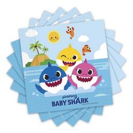 Baby Shark Parti Szalvéta - 20 db-os, 33 cm x 33 cm