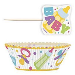 Baby Shower Muffin Tartó Forma - 24 db-os