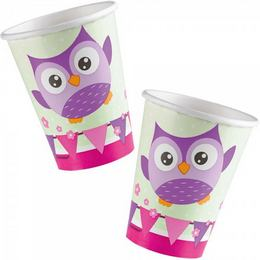 Bagoly - Happy Owl Papír Parti Pohár - 266 ml, 8 db-os