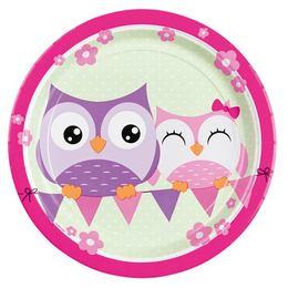 Bagoly - Happy Owl Papír Parti Tányér - 23 cm, 8 db-os