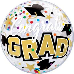 22 inch-es Congrats Grad Stars & Dots Ballagási Bubble Lufi