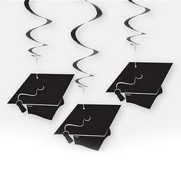 Ballagási Kalapok Spirális Függő Dekoráció, 3 db-os