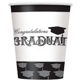 Ballagási Papír Parti Pohár - Congratulations Graduate Felirattal - 8 db-os, 270 ml