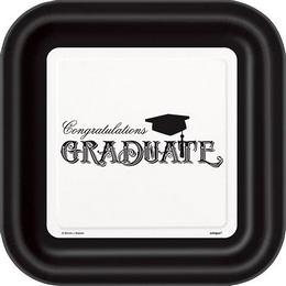 Ballagási Tányér - Congratulations Graduate Felirattal - 8 db-os, 22 cm