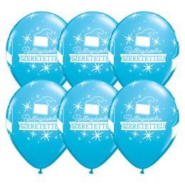 11 inch-es Ballagásodra Szeretettel Diplomakalap Mintás  Robin's Egg Blue Lufi 25 db