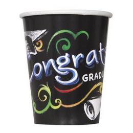 Chalkboard - Congrats Graduate - Ballagási Papír Parti Pohár - 8 db-os, 270 ml