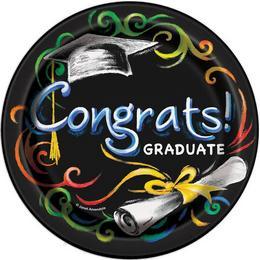 Chalkboard - Congrats Graduate - Ballagási Papír Parti Tányér - 8 db-os, 17 cm