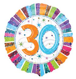 18 inch-es Radiant Birthday 30-as Születésnapi Fólia Lufi