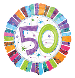 18 inch-es Radiant Birthday 50-es Születésnapi Fólia Lufi