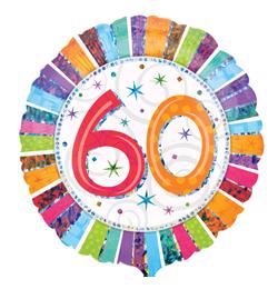 18 inch-es Radiant Birthday 60-as Születésnapi Fólia Lufi