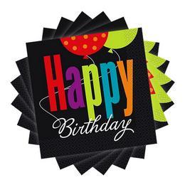 Birthday Cheer Szülinapi Parti Szalvéta - 33 cm x 33 cm, 16 db-os