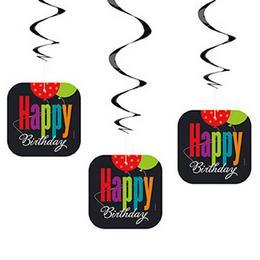 Birthday Cheer Szülinapi Parti Spirális Függő Dekoráció, 3 db-os
