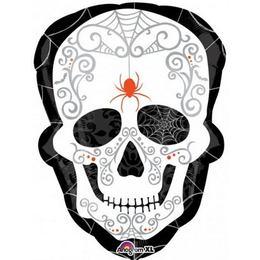 Black and Bone - Mintás Koponya Super Shape Fólia Lufi Halloweenre