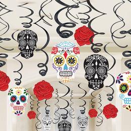 Black and Bone Színes Koponyás Spirál Függő Dekoráció Halloweenre, 30 db-os