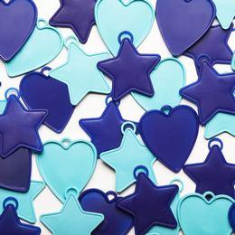 Blue - Kék Csillag és Szív Léggömbsúly Assortment - 8 gramm (25 db/csomag)
