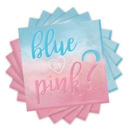 Blue or Pink Parti Szalvéta Babaszületésre - 33 cm x 33 cm, 16 db-os