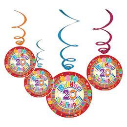 Boldog 20. Szülinapot Színes Parti Függő Dekoráció - 6 db-os