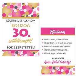Boldog 30. Születésnapot! Rózsaszín Pasztell Konfettis Boros Üveg Címke, 2 db-os