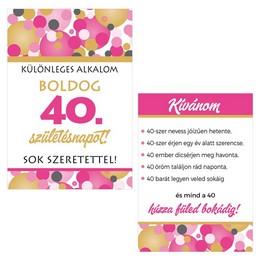 Boldog 40. Születésnapot! Rózsaszín Pasztell Konfettis Boros Üveg Címke, 2 db-os
