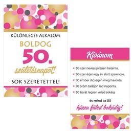 Boldog 50. Születésnapot! Rózsaszín Pasztell Konfettis Boros Üveg Címke, 2 db-os