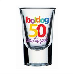 Boldog 50. Szülinapot Feliratú Feles Üvegpohár