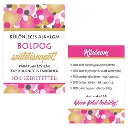 Boldog Születésnapot! Rózsaszín Pasztell Konfettis Boros Üveg Címke, 2 db-os