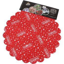 Boldog Szülinapot Feliratú Piros Szülinapi Kerek Dekorációs Textil - 48 cm, 24 db-os