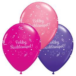 11 inch-es Boldog Születésnapot Shining Star Lufi Lányos Színekben (6 db/csomag)