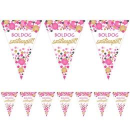 Boldog Szülinapot! Rózsaszín Pasztell Konfettis Zászlófüzér - 5 m