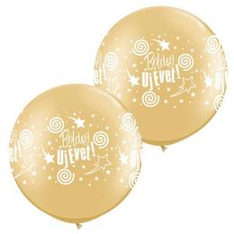 30 inch-es Boldog Új Évet! Gold Szilveszteri Lufi (2 db/csomag)