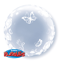 24 inch-es Elegant Roses and Butterflies - Rózsás és Lepkés Deco Bubble Lufi