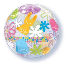 22 inch-es Spring Bunnies & Flowers Húsvéti Bubbles Lufi
