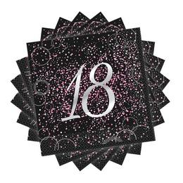 18-as Számos Pink Glitz Parti Szalvéta - 33 cm x 33 cm, 16 db-os