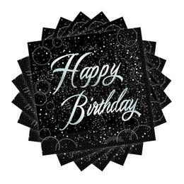 Happy Birthday - Szülinapi Ezüst Glitz Parti Szalvéta - 33 cm x 33 cm, 16 db-os