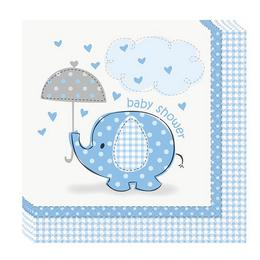 Kék Baby Shower - Bébielefánt Mintás Parti Szalvéta Babaszületésre - 16 db-os