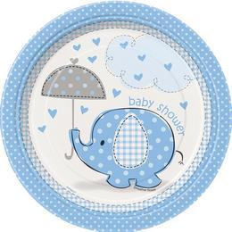 Kék Baby Shower - Bébielefánt Mintás Parti Tányér Babaszületésre - 17 cm, 8 db-os