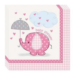 Pink Baby Shower - Bébielefánt Mintás Parti Szalvéta Babaszületésre - 16db-os