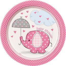 Pink Baby Shower - Bébielefánt Mintás Parti Tányér Babaszületésre - 17 cm, 8 db-os