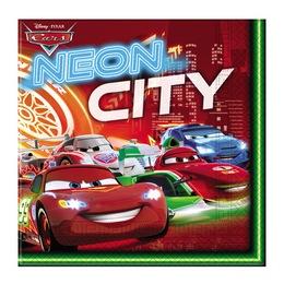 Cars Neon - Verdák Parti Szalvéta - 33 cm x 33 cm, 20 db-os