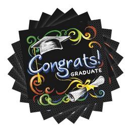 Chalkboard Congrats Graduate - Ballagási Papír Szalvéta - 33 cm x 33 cm, 16 db-os