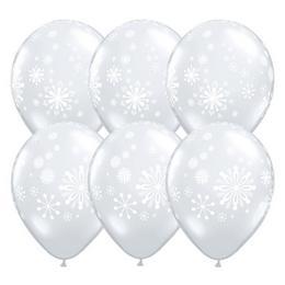 11 inch-es Contemporary Snowflakes Diamond Clear Karácsonyi Lufi (25 db/csomag)