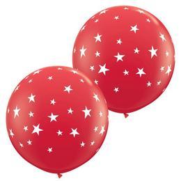 3 feet-es Csillag Mintás - Contempo Stars-a-Round Red Lufi (2 db/csomag)